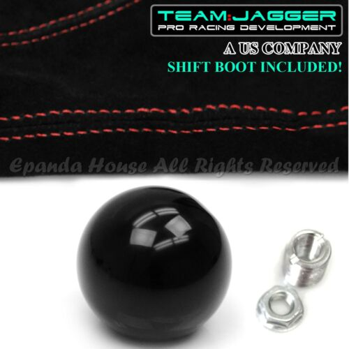 FOR 70-04 FORD MUSTANG M12 ROUND BLACK MANUAL GEAR SHIFT KNOB+RED STITCH BOOT