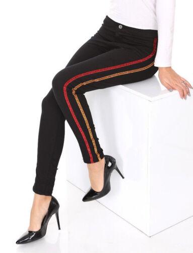 Da Donna Vita Alta Jeans Aderenti Skinny Jeggings Glitter Stripe Pantaloni Elastici 6-16