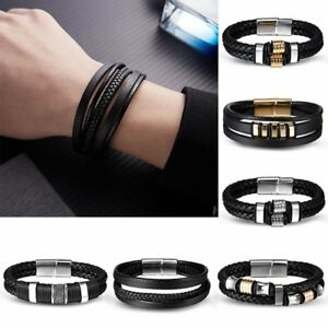 Unisex-Women-Men-Braided-Leather-Steel-Magnetic-Clasp-Bracelet-Handmade