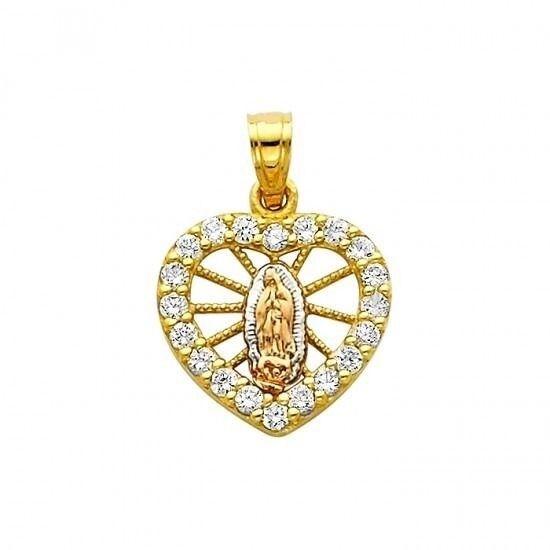 14k Tricolor gold Lady of Guadeloupe CZ Heart Charm Pendant  Virgen de Gudalupe