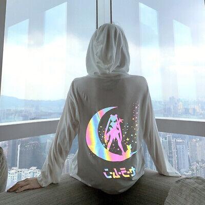 Anime Sailor Moon Hoodie Sweatshirt Laser Reflective White Long Sleeve Top Coat