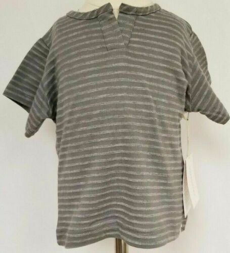 Go Gently Baby Kids T-shirt grey gray short sleeve stripes striped heathered