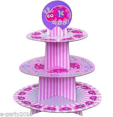 Phenomenal Ladybug 1St Birthday Cupcake Tree First Party Supplies Cake Birthday Cards Printable Giouspongecafe Filternl