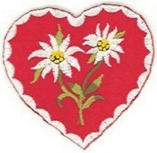 German Edelweiss edelweiß Flower Red Heart Embroidery Patch