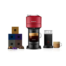 Nespresso Vertuo Next Cherry Red Coffee Machine & Aeroccino3 +50 Vertuo Capsules