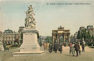 Postcard-Place-of-Carousel-Statue-Paris-France