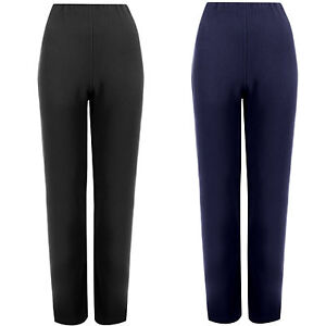 Femme-pantalon-coupe-droite-femme-stretch-finement-cotele-pantalon-enfiler-bottoms