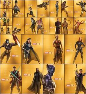 Topps-Marvel-Collect-FIRST-TEN-YEARS-28-CARD-GOLD-CHARACTER-POSTER-SET
