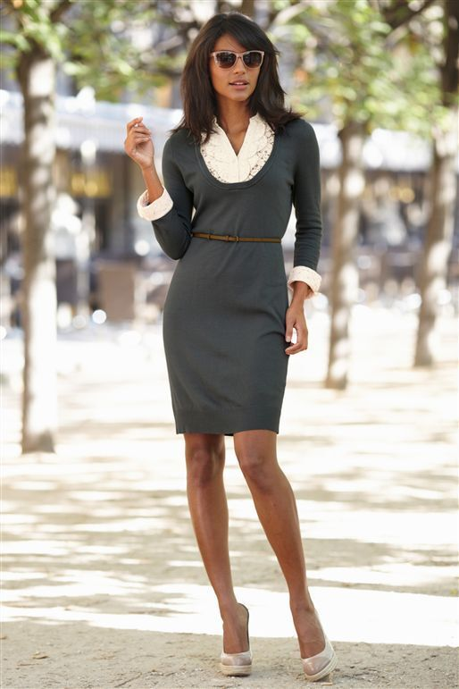 NEXT Grey Lace Insert Vintage Look Long Sleeve Belted Work Jumper Dress 12 BNWT