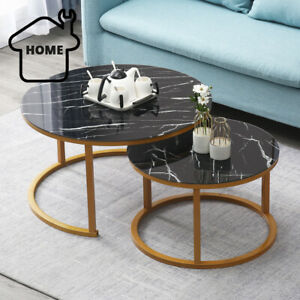 2 Round Coffee Table Set Sofa Tables Nested Side Living Room Home Marble Vein Ebay