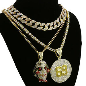 Hip-Hop-Tekashi69-SAW-69-pendant-18-034-24-034-Full-Iced-Cuban-Choker-Chain-Necklace