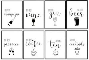 But First Coffee Tea Print Wall Art Kitchen Home Bar Decor Drinks Alcohol Gift