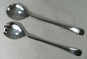 Silverplate-Salad-Fork-Spoon-Serving-Set-Sheffield-England-Vintage-Silver-Plate