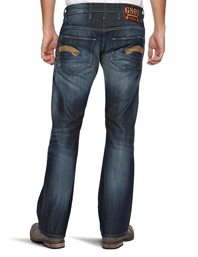 G Star RAW Heller Low Boot Cut Jeans in Vintage Aged Fall Denim, Size W34 L32