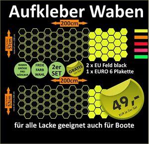 2er-Set-Waben-Aufkleber-Auto-Stockcar-Tattoo-Hexagon-ALLE-FARBEN-NEON-gt-TOP