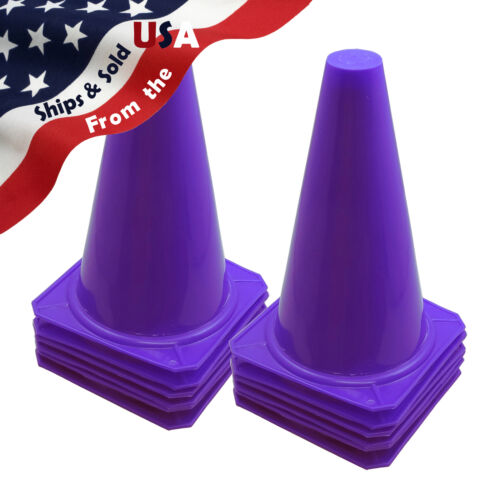 """12 New 9/"""" Tall Cones ~ Soccer Football Traffic Safety PURPLE"""
