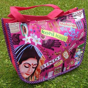 Inde Purple Jungle Tote Coton Bollywood Sac Bin Bag 40x32x14cm 1A7w0O1qp