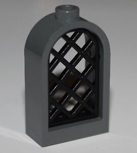 New LEGO Lot of 2 Dark Bluish Gray 1x4x3 Windows NO Glass