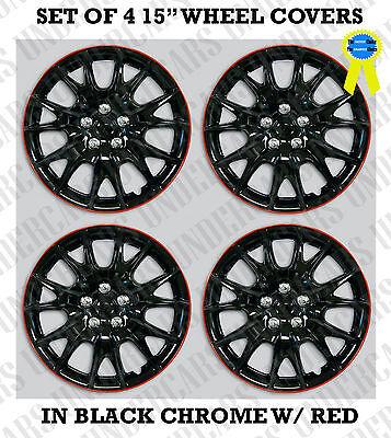 "SET OF 4 15"" Hub Caps Full Wheel Covers Rim Cap Lug Cover Hubs BLACK CHROME RED"