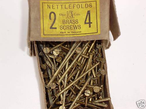 """100 X Nettlefolds de latón de cabeza avellanada Tornillos Para Madera 2 /""""x 4"""
