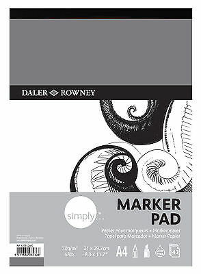 DALER ROWNEY SIMPLY A4 MARKER PAD 70gsm 48lb ARTIST BLEED PROOF PAPER 40 SHEETS