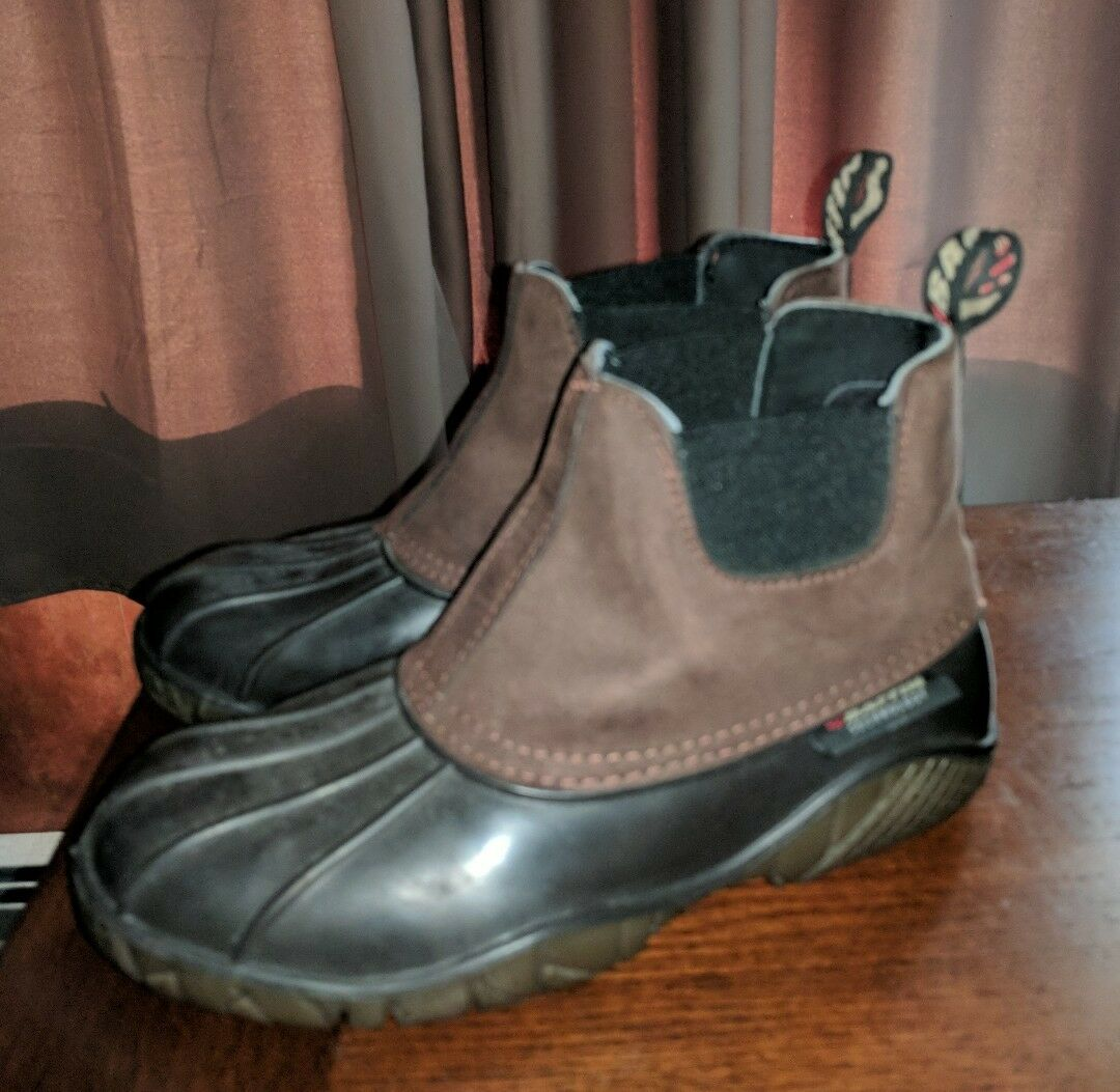 BAFFIN TECHNOLOGY WATERPROOF LADIES PULL ON DUCK BOOTS 7 M BROWN ANKLE CASUAL