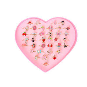 Details About 2x Fashion Adjule Kids Sweet Alloy Ring Children Costume Jewelry Toy Gift Te