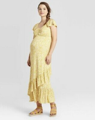 Floral Print Short Sleeve Knit Maternity Yellow Dress Isabel Maternity Ebay