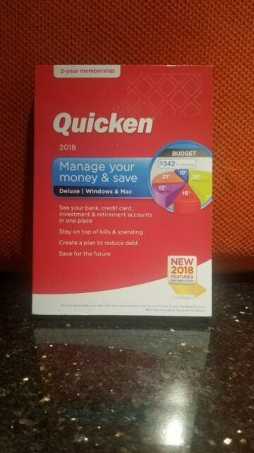Quicken Deluxe 2018 24 Month Windows and MAC Standard CD Membership
