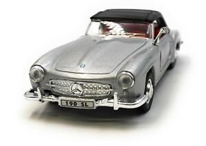 Model-Car-Mercedes-Benz-190-Sl-Oldtimer-Silver-Car-1-3-4-39-Licensed