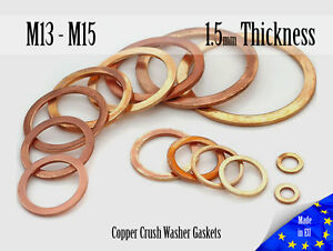 M13-M15-Thick-1-5mm-Metric-Copper-Flat-Ring-Oil-Drain-Plug-Crush-Washer-Gaskets