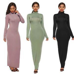 Womens-Fashion-Dress-Maxi-Dress-Long-Sleeve-Long-Sexy-Turtleneck-Bodycon-Pencil