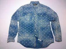 RRL Ralph Lauren 'Bandana' Indigo Print Chambray Shirt Western Paisley Blue L