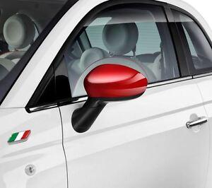 FIAT-500-GRANDE-PUNTO-EVO-gloss-rouge-miroir-capuchons-couvre-paire-71807485-authentique