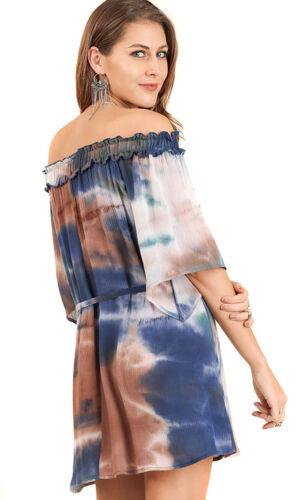 UMGEE Womens Tie Dye Crepe Retro Off Shoulder Chic Vintage Bohemian Dress S M L