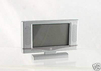 Dollhouse Miniature Widescreen Flat Panel LCD TV with Remote Gray H6G9