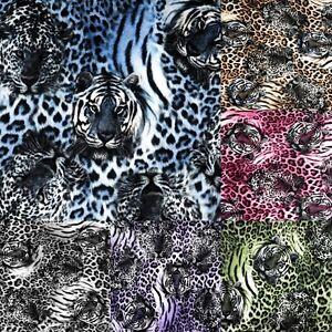 Leopard-Tiger-Print-Brown-Green-Pink-B-W-Purple-Blue-Stretch-Faux-Fur-Fabric