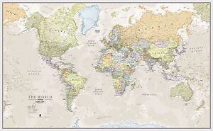 Classic world map poster print art map for office choose size image is loading classic world map poster print art map for gumiabroncs Gallery