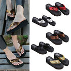 Summer Soft Women Wedge Sandals Sequin Thong Flip Flops Platform Slippers