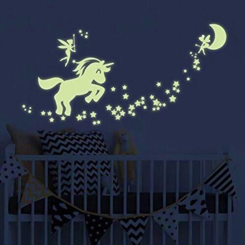Magical Unicorn Star Wall Sticker Kids Bedroom Glow In The Dark Decals Dec y6tr