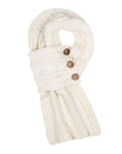 Aran Traditions Câble Wrap Bouton Blanc Crème Hiver Chaud Écharpe Fashion