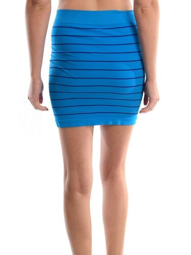 Womens One Size Stripe Seamless Mini Skirt Black White Neon Green Pink #SS001 IW