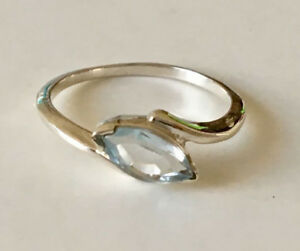 925 Sterling Silver Blue Topaz Ring Gemstone Marquise Stack Stackable Sz 6 7 8 9