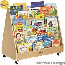 Mobile Double Sided Book Display 5 Shelf Day Care Preschool Library Organizer