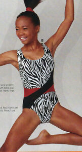 NWT Axis Gymnastic DanceTank Leotard Black White Zebra Print Ladies Sizes 94044
