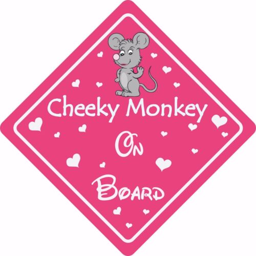 CHEEKY MONKEY ON BOARD MOUSE Car Sign Sticker Baby Child Children Safety Kids