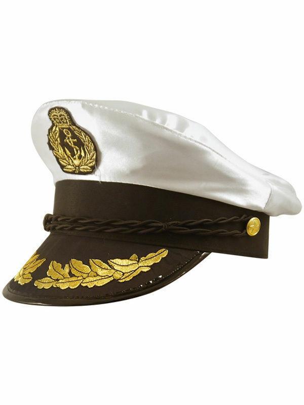 Deluxe Satin Captain Hat Sea Marine Cap Sailor Adult Men's Fancy Dress Accessory