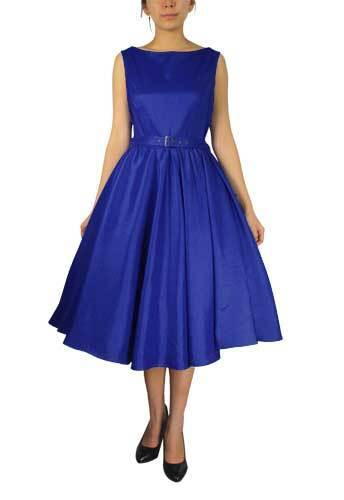 Königsblau Ärmellos Kleid mit Gürtel Retro Vintage 50s Jahre Damen Prinzessin