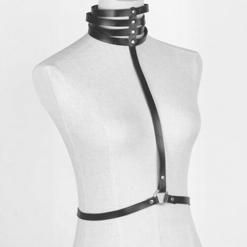 Women Gothic Waist Belt Punk Rave Body Harness Chain Tassel Chest Bondage Cage