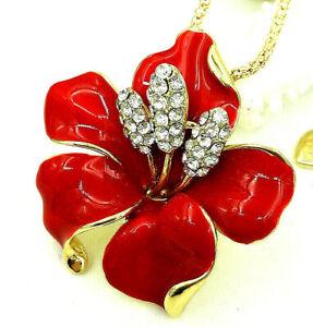FANTASTIC Orchid Lotus FLOWER Orange Gold 3D Retro Vintage Jewel Pendant BROOCH